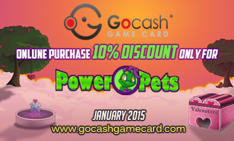 Receive a 10% cash bonus when you purchase a GoCash game card and redeem on Powerpets! January / US customers only